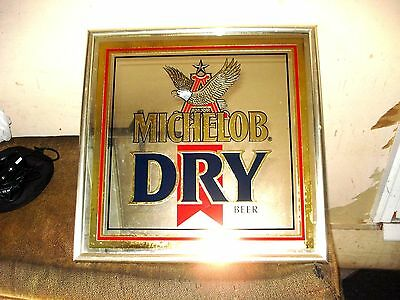 Vintage Michelob Dry Draught Mirrored Beer Advertising Sign-1982