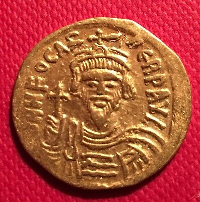 Genuine Byzantine Empire gold solidus, Phocas 603-610 AD