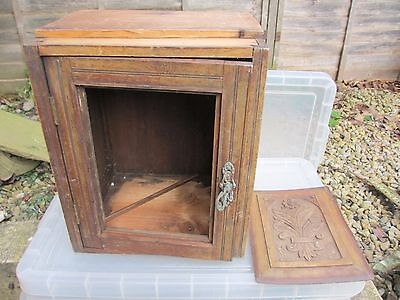 Vintage Wooden Cupboard Cabinet Storage Carved Panel Door Antique Brass Handle