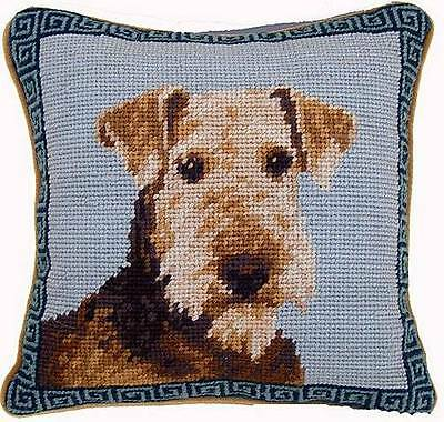 """New Airedale Terrier Portrait Dog Needlepoint Throw Pillow 10"""""""