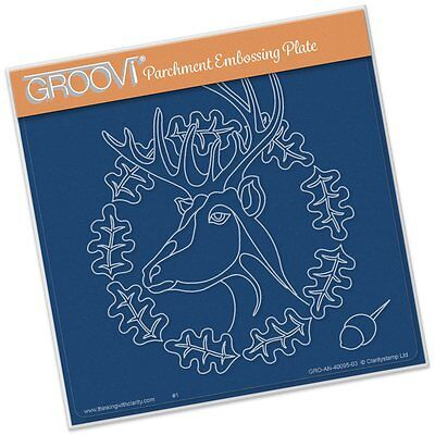 CLARITY STAMP GROOVI Parchment Embossing Plate OAK DEER GRO-AN-40095-03