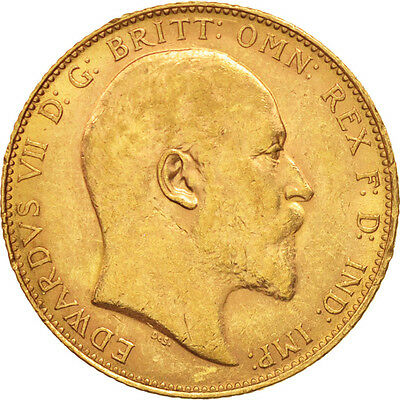 Great Britain, Edward VII, Sovereign, 1904, AU(50-53), Gold, KM:805