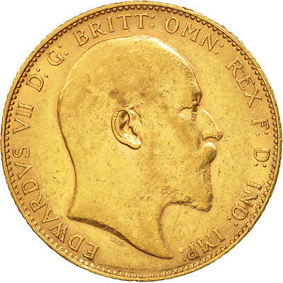 Great Britain, Edward VII, Sovereign, 1910, AU(50-53), Gold, KM:805