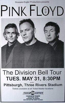 """Pink Floyd """"the Division Bell Tour"""" Laminated Gloss Poster Mint New Lower Price"""