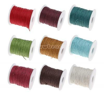90m / 100Yards Waxed Cotton Cord Wire Beading Macrame String DIY 1mm BDS