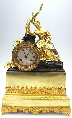 Rare Amazing Antique French Empire Bronze Ormolu Lady 8 day Figural Mantel Clock