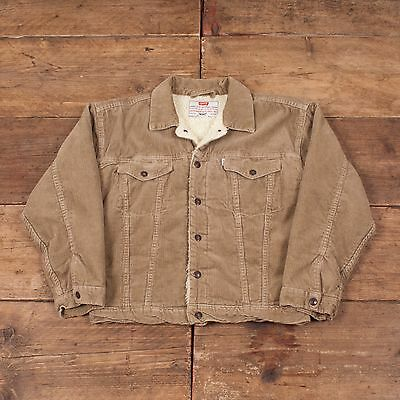 Boys Vintage Levis Fur Lined Sherpa Cord Corduroy Jacket Age 10 R4336