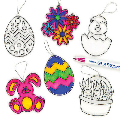 Easter Acyrylic Suncatchers Decorations for Kid's Painting Crafts (Pack of 6)