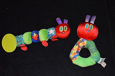 LOT Eric Carle VERY HUNGRY CATERPILLAR Plush Baby Teether Rattle Toys