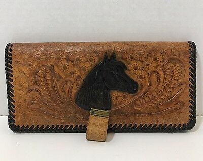 Vintage Wallet Western Leather Hand Tooled Horse