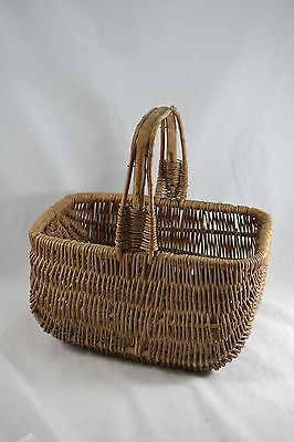 VINTAGE wicker basket with bamboo handle early C20th