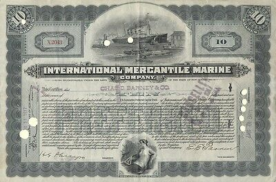 Stock Certificate - 1917 - International Mercantile Marine Company