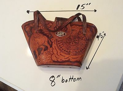 vintage Hand tooled Aztec Mayan leather purse from Mexico