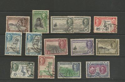 Nyasaland 1945 Used Part Stamp Set To 5/-  Sg 144 - 155 Cat £29