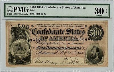 T-64 $500 1864 Confederate States of America VF30 Net PMG