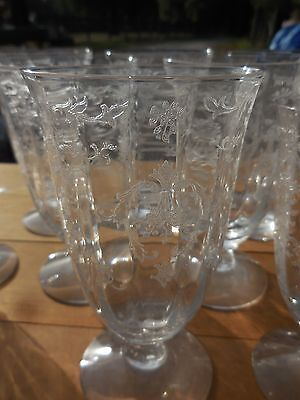 """(1) Fostoria Navarre Pattern Iced Tea Glass 5 1/2"""" Etched Floral Crystal Clear"""