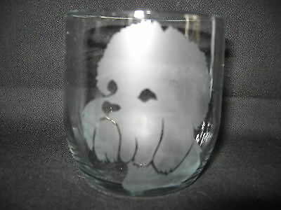 New Etched Dandie Dinmont Terrier Face Old-Fashioned Rocks Glass Tumbler
