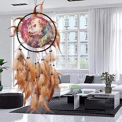 New Handmade Dream Catcher with feathers wall hanging decor ornament-Wolf