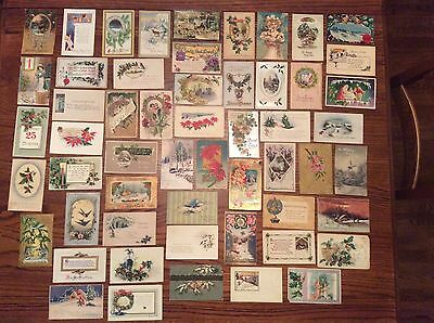 Lot of 55 Vintage Christmas and New Years Postcards, Early 1900's, Antique Cards