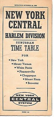 New York Central Harlem Division Time Table October 30, 1960