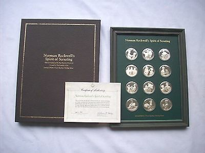 Norman Rockwell Spirit Of Scouting Franklin Mint Sterling Coin Set Proof 1972