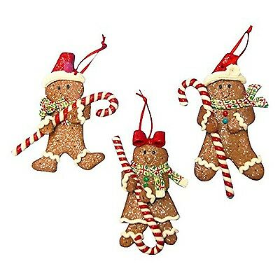 Gingerbread Boy & Girl With Candycane Ornament Set Of 3