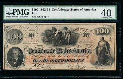 AC T-41 $100 1862 Confederate Currency CSA PMG 40 slaves hoeing cotton