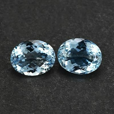 A PAIR OF 4x3mm OVAL-FACET LIGHT-BLUE NATURAL AFRICAN AQUAMARINE GEMSTONES
