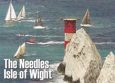Postcard The Needles Isle Of Wight, Lifeboat, Lighthouse&around The Island Race