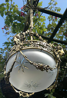 Antique French Gilt Bronze Louis XVI Style Ceiling Light-Rams Heads-Swags & Bows
