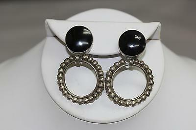 Vintage Mexico Sterling Silver Onyx Round Dangle Clip On Earrings - 925 TC-25