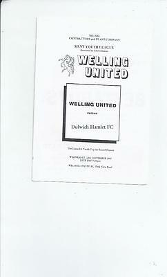 Welling United v Dulwich Hamlet FA Youth Cup Football Programme 1997/98