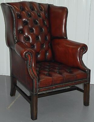 Original 1960's Fully Restored Chesterfield Wingback Georgian H Framed Armchair