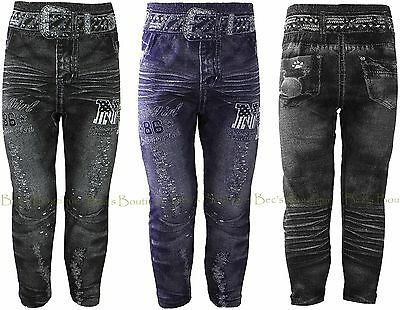 Girls Leggings - Jeans Printed Fabric Jeggings Kids Clothes 3-4yrs 5-6yrs 7-8yrs