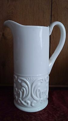 """White Vintage Challinor and Taylor Company Scroll Tall Milk Glass 9.5"""" Pitcher"""