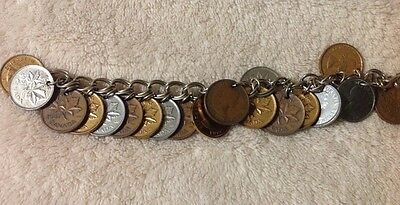 Vintage Canada Canadian Coin Bracelet with 21 Coins All Dated 1957!