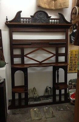 1800s 2m Mahogany Antique Restored House Fireplace Overmantel Victorian Vintage