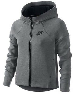 Nike Tech Fleece  Girls Hoodie  Grey Heather Medium (Age 10-12 Years)