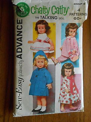 Vintage 1962 Mattel Chatty Cathy Wardrobe Sewing Pattern Sew Easy by Advance