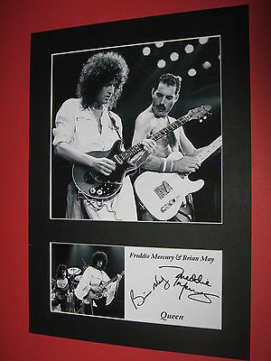 Queen Freddie Mercury Brian May A4 Photo Mount Signed Reprint Autographs
