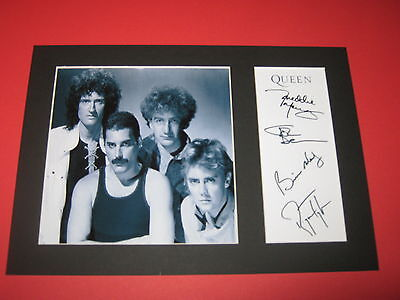 Queen A4 Photo Mount Signed Autograph Reprint Freddie Mercury Brian May Ticket