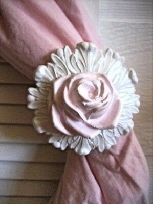 SHABBY n CHIC ROSE CURTAIN TIEBACK *FURNITURE APPLIQUES