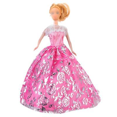 Pink Wedding Gown Dress Clothes w/Strap Girl Party for Princess Barbie Doll