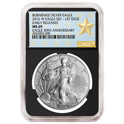 2016-W Burnished $1 American Silver Eagle NGC MS69 Early Releases WPS ER Label R