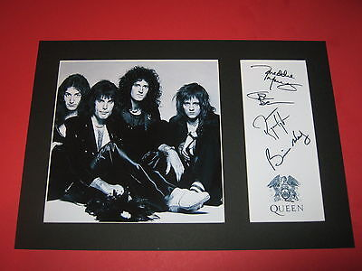 Queen A4 Photo Mount Freddie Mercury Brian May Signed Autograph Reprint