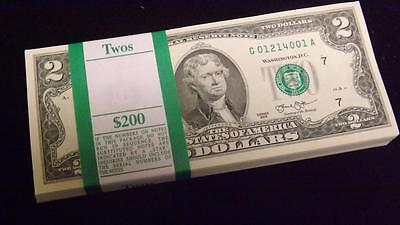 (100) $2 Bill 2013 UNC Consecutive USA Federal Reserve Notes $200 Face Chicago G
