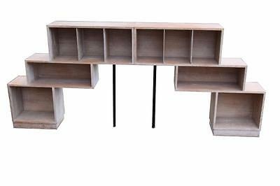 Two Art Deco Design Limed Oak Stepped Bookcases