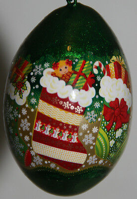 pysanky gourd Christmas with stockings and gifts