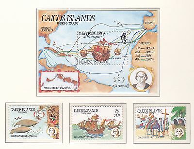 Caicos Islands 1984 492nd Anniv of Columbus UM Set and MS Cat £11.75