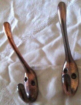 Antique Reclaimed Coppered Coat Hooks X 2 / 1x Pair